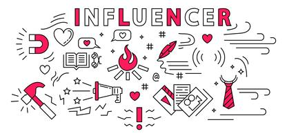 Influencer Tunn linje Design. Planlösning. Flat Doodle Style