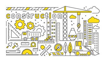 Flat Line Design With Contruction And Architect Theme. Building Design Concept With Yellow Color