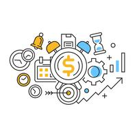 Tijd Is Geld Illustratie. Time Management Flat Line Design met oranje en blauwe kleuren. ontwikkeling van mindset doodle stijl vector