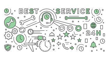 Línea plana diseño de concepto de servicio. Estilo geométrico del Doodle. Negocio y Empresa de Diseño Infográfico.