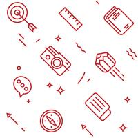 Patrón creativo Objetos de estilo doodle de línea plana para embalaje u otros fines.