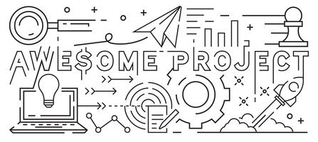 Awesome Project Line Art Design. Youthful Doodle Style. Black And White Illustration. Business, Startup, And Project Concept. Thin Line Banner And Background Design