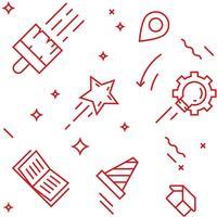 Modello creativo Oggetti in stile doodle a linea piatta per imballaggi o altri scopi