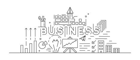 Business Concept Theme Line Art Design. Black And White Doodle Style. Flat And Youth Modern Vector. Thin Line Design