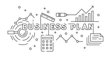 Progettazione piana di concetto di strategia di pianificazione aziendale e di strategia di vendita. Vettore di stile Doodle in bianco e nero. Banner e sfondo per la presentazione o altri progetti