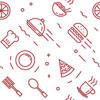 Food pattern. Flat line doodle style objects for packaging or other purposes