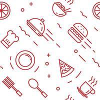 Padrão de alimentos. Objetos de estilo de linha plana doodle para embalagem ou outros fins