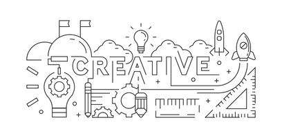 Concept créatif Line Art Design. Arrière-plan, bannière ou page de destination. Style de griffonnage de la jeunesse. Conception de vecteur noir et blanc