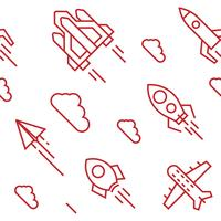 Rockets pattern. Flat line doodle style objects for packaging or other purposes