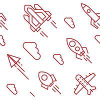 Modello di razzi Oggetti in stile doodle a linea piatta per imballaggi o altri scopi