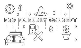 Eco freundliche Konzept-Illustration. Ökologie-Ideen. Rette die Erde. Flache Linie Design Vektor. Gekritzelart geometrische Infografik