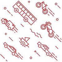 Vehicles pattern. Flat line doodle style objects for packaging or other purposes