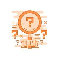 Pesquisa não encontrada ilustração. Conceito de linha plana projetado com cores laranja, para aplicativos móveis ou outros fins