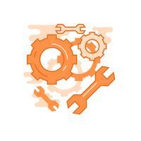 Service illustration. Plattlinjekoncept med orange färger, för mobilappar eller andra ändamål