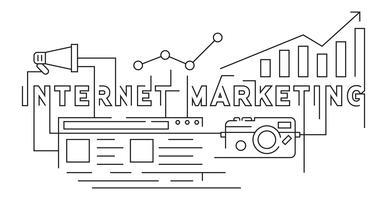 Marketing en Internet Flat Line Doodle Style. Banner ilustración diseño vectorial. Tecnología de Negocios y Marketing
