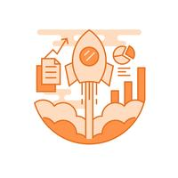 Startup illustration. Flat line designed concept with orange colors, for mobile apps or other purposes