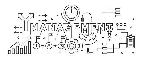 Concept de gestion Line Art Design. Vecteur de griffonnage noir et blanc. Bannière, arrière-plan ou page de renvoi dans le style jeunesse. Thème des entreprises et des projets