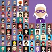 Coleção de avatar de vários personagens masculinos e femininos vetor