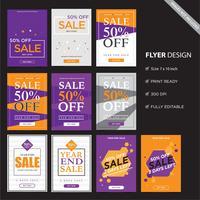 Diseño de volante para la venta, concepto venta volante ilustración de vector de color morado naranja púrpura