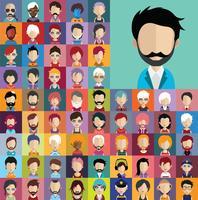 Collezione di avatar di vari personaggi maschili e femminili