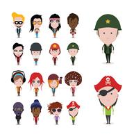 Set of colorful avatars of characters vector