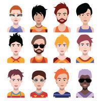 Conjunto de coloridos avatares de personajes. vector