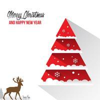 God jul och gott nytt år dekoration kort med Snow Flake Bokeh Vector Bakgrund