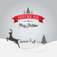 Merry Christmas and Happy New Year Decorations Card with Snow Flake Bokeh Vector Background