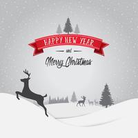 Feliz Natal e feliz ano novo cartão de decorações com neve floco Bokeh de fundo Vector