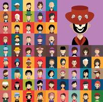 Conjunto de iconos de personas con caras