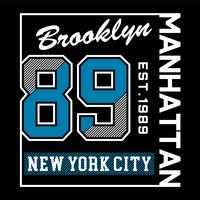 Brooklyn New York City Manhattan typography design tee