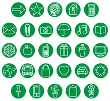 jeu d'icônes blanc vert