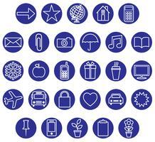 conjunto de ícones branco azul