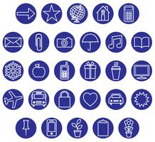 set di icone bianco blu