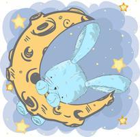 Cute baby rabbit on the moon
