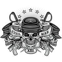 emblema della guerra civile con teschio