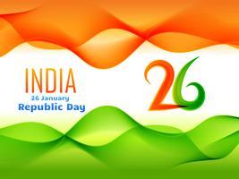 Diseño del día de la República de India en ilustración de estilo de onda