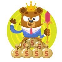 Bear with business suit and money bags