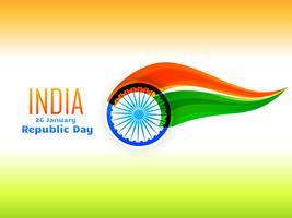 Indiska republikens dag sjunker design gjord i vågstil