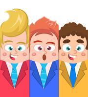 Drie zakenman in vlakke stijl