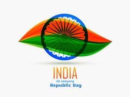 Indian Republic Day ontwerp gevierd op 26 januari gemaakt in bladstijl met driekleur en wiel