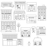 Town Buildings Digital Stamps Clipart