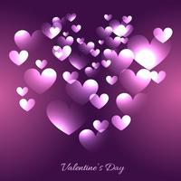 illustrazione dei cuori di giorno di San Valentino in sfondo viola