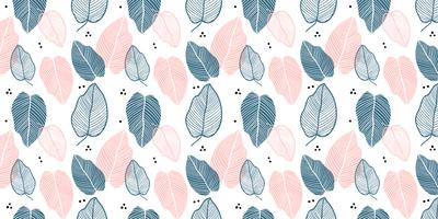 Floral background of leaves in flat style.