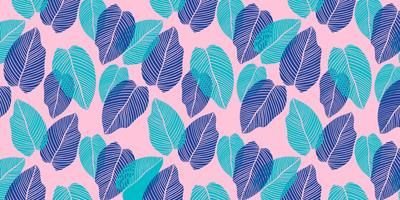 Floral background of tropical leaves in flat style.