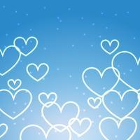 fundo azul com múltiplos corações