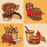 Concept de menu de restauration rapide plat