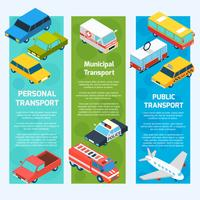 Transport Isometric Banners Vertical