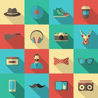 Hipster flache Icon-Set