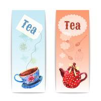 Banner de té de acuarela
